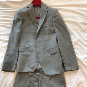 Zara Men Light Grey Full Suit.